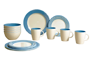 Gimex - Stripes Light Blue 16 pz Dinner Set