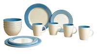 Gimex - Stripes Light Blue 16 pcs Dinner Set